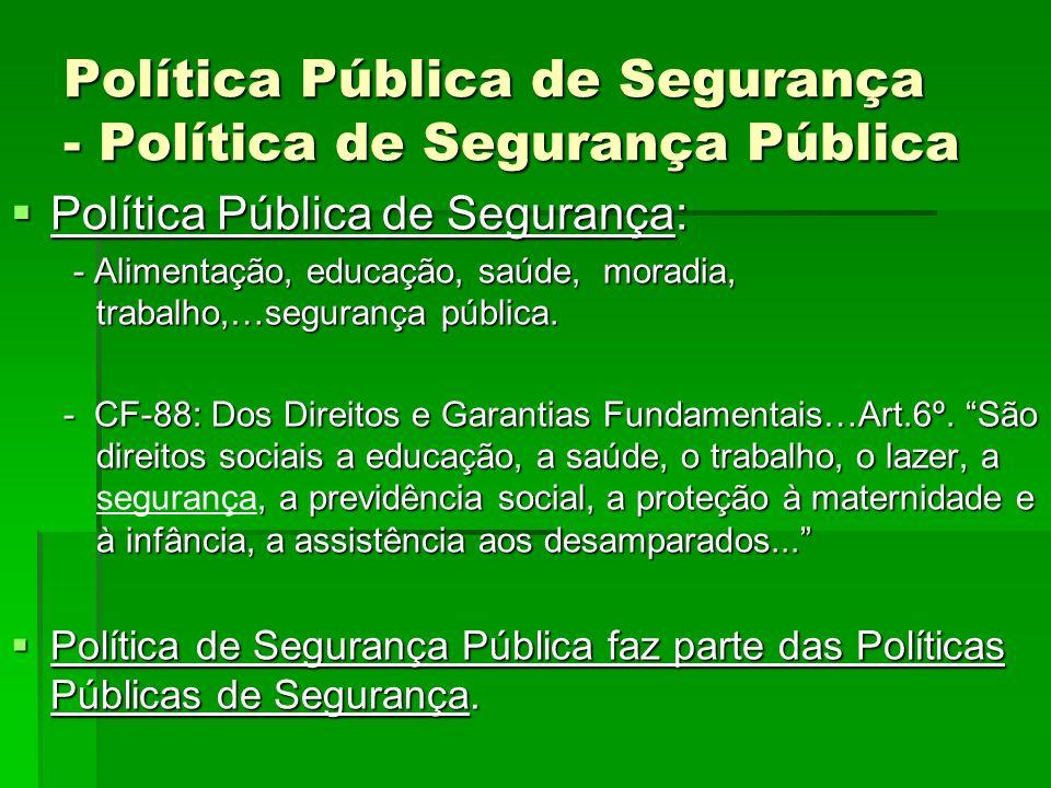 Política Pública de Segurança - Política de Segurança Pública Política Pública de Segurança: Política Pública de Segurança: - Alimentação, educação, s