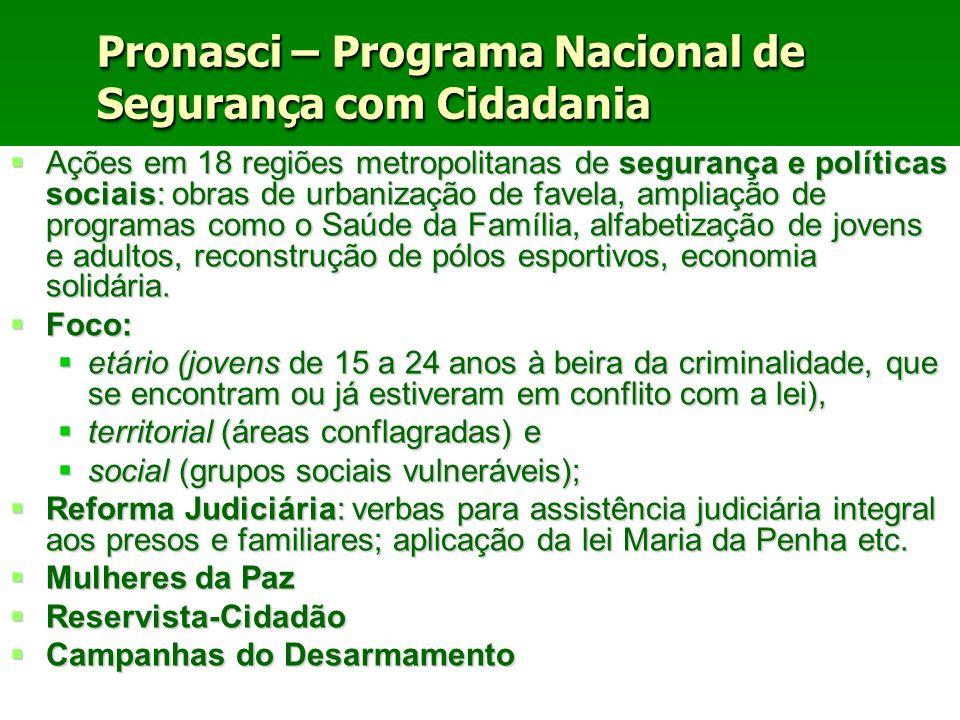 Ações em 18 regiões metropolitanas de segurança e políticas sociais: obras de urbanização de favela, ampliação de programas como o Saúde da Família, a
