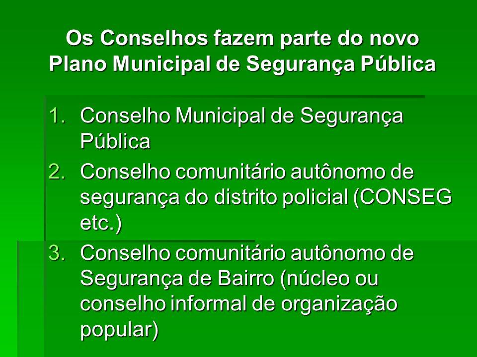 Os Conselhos fazem parte do novo Plano Municipal de Segurança Pública 1.Conselho Municipal de Segurança Pública 2.Conselho comunitário autônomo de seg