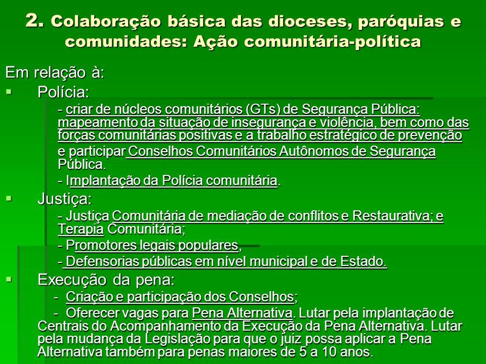 2. Colaboração básica das dioceses, paróquias e comunidades: Ação comunitária-política Em relação à: Polícia: Polícia: - criar de núcleos comunitários