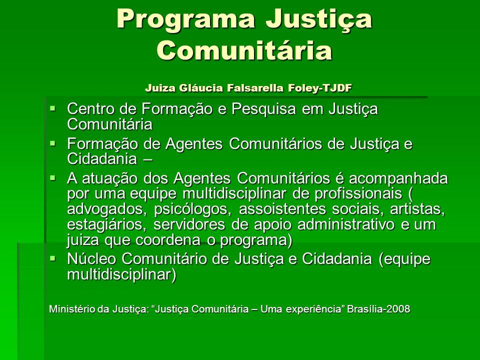Programa Justiça Comunitária Juiza Gláucia Falsarella Foley-TJDF Centro de Formação e Pesquisa em Justiça Comunitária Centro de Formação e Pesquisa em