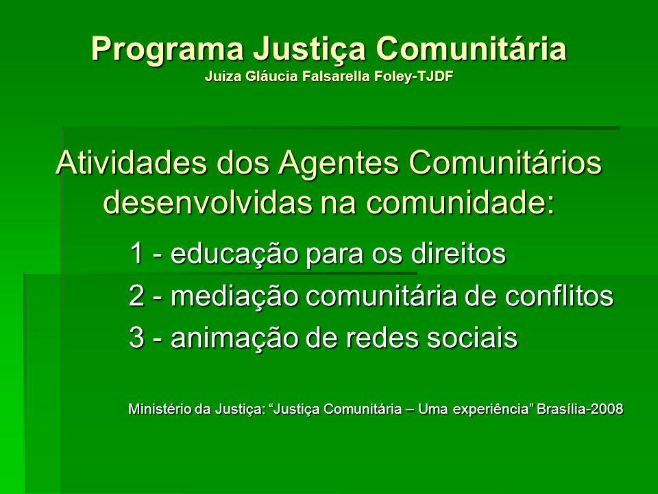 Programa Justiça Comunitária Juiza Gláucia Falsarella Foley-TJDF Atividades dos Agentes Comunitários desenvolvidas na comunidade: 1 - educação para os