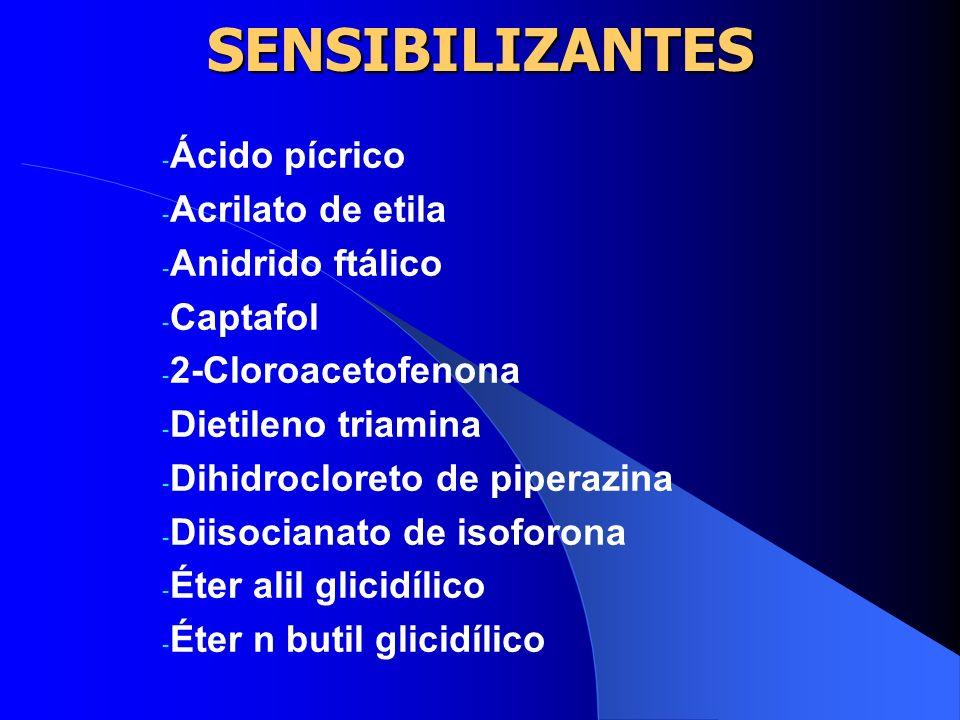 SENSIBILIZANTES A ACGIH utilizou como critério para o estabelecimento dos limites de tolerâncias os efeitos mais importantes e a sensibilização foi co