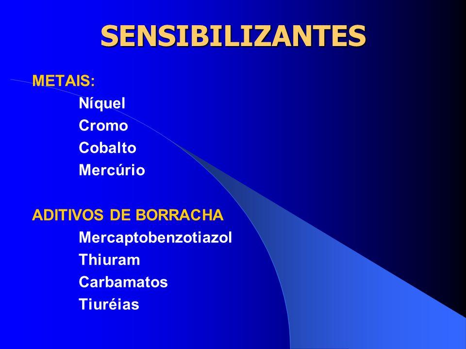 SENSIBILIZANTES Alguns ramos de indústria utilizam muitas substâncias que são sensibilizantes como: a) borracha; b) corantes; c) fotografia.
