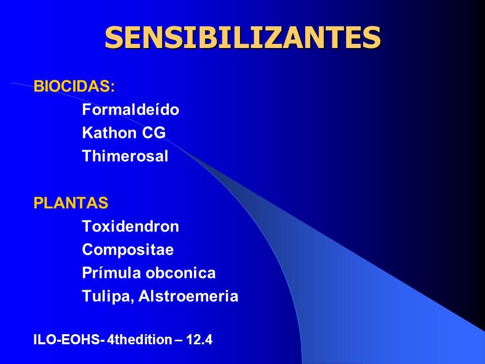 SENSIBILIZANTES CORANTES: Parafenilenodiamina Produtos p/fotografia colorida Corantes p/texteis PLÁSTICOS Monômero epoxi Monômero acrílico Resinas fen