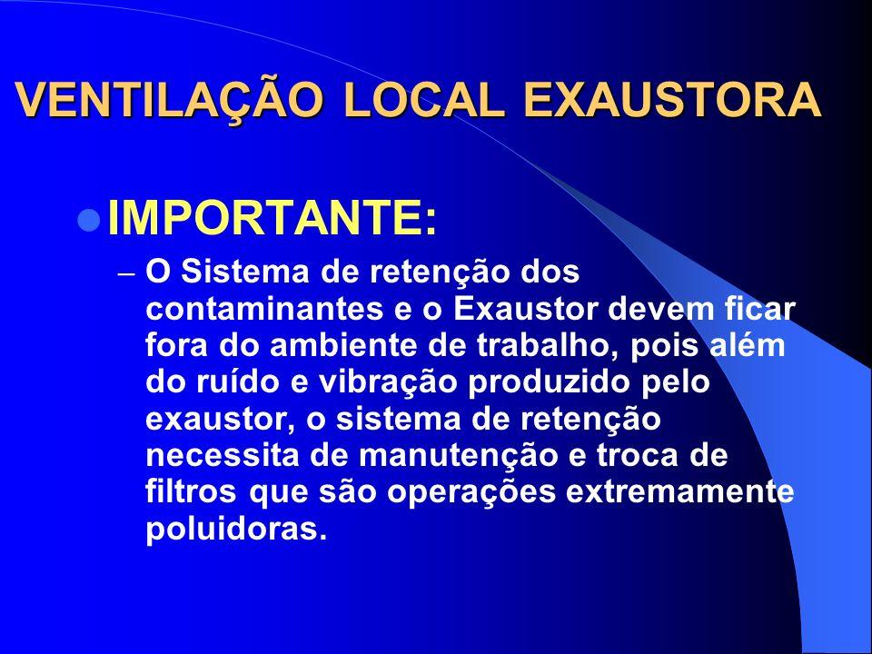 VENTILAÇÃO LOCAL EXAUSTORA COMPOSIÇÃO DE UM S.V.L.E. - Sistema de retenção dos contamin. (Filtro-manga, Precipitador Eletrostático Lavador de Gases, e