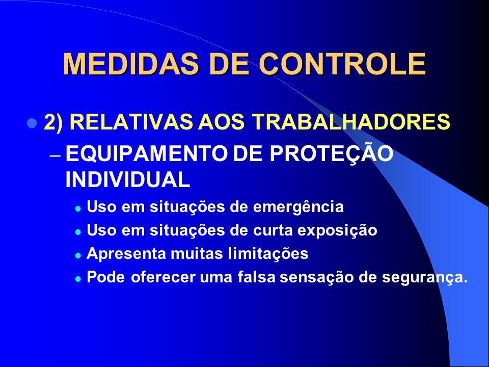 MEDIDAS DE CONTROLE 2) RELATIVAS AOS TRABALHADORES – TREINAMENTO – É a mais eficiente das medidas, pois o trabalhador que conhece o risco não se expõe