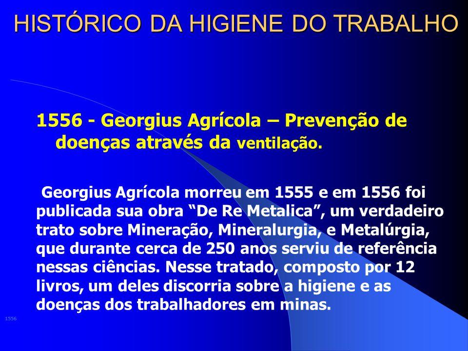 HISTÓRICO DA HIGIENE DO TRABALHO 1556 - Georgius Agrícola – Prevenção de doenças através da ventilação.