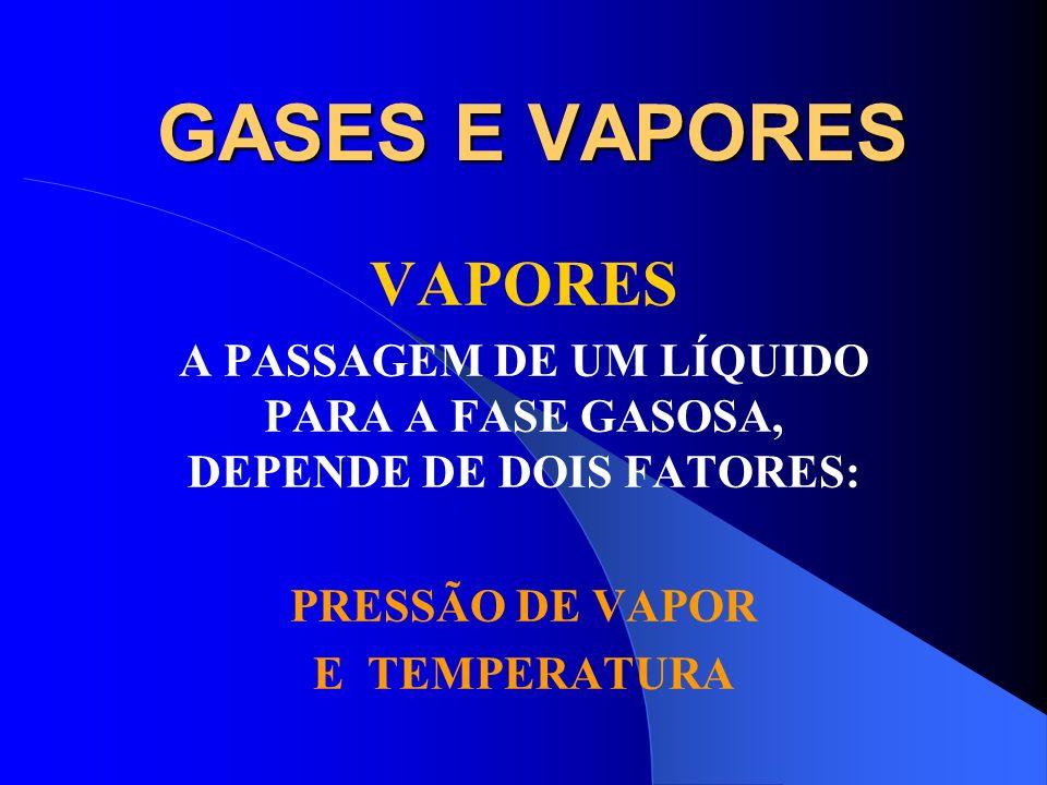 GASES E VAPORES VAPORES VAPOR É O ESTADO GASOSO DE UMA SUBSTÂNCIA QUE NAS CONDIÇÕES NORMAIS DE PRESSÃO E TEMPERTATURA ESTÁ NO ESTADO LÍQUIDO. Exemplos