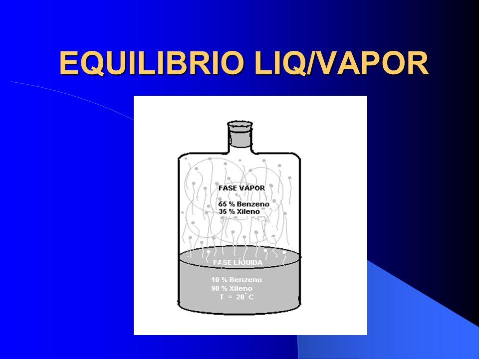 GASES E VAPORES EXEMPLO Em um recipiente fechado a 20° C, uma mistura de 90% Xileno e 10% de Benzeno, produzira uma fase gasosa de composição: Benzeno