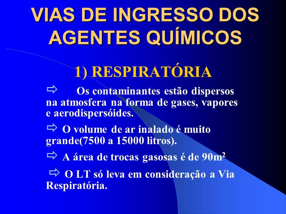 VIAS DE INGRESSO DOS AGENTES QUÍMICOS 1) Respiratória 2) Epicutânea ou dérmica 3) Oral ou Digestiva