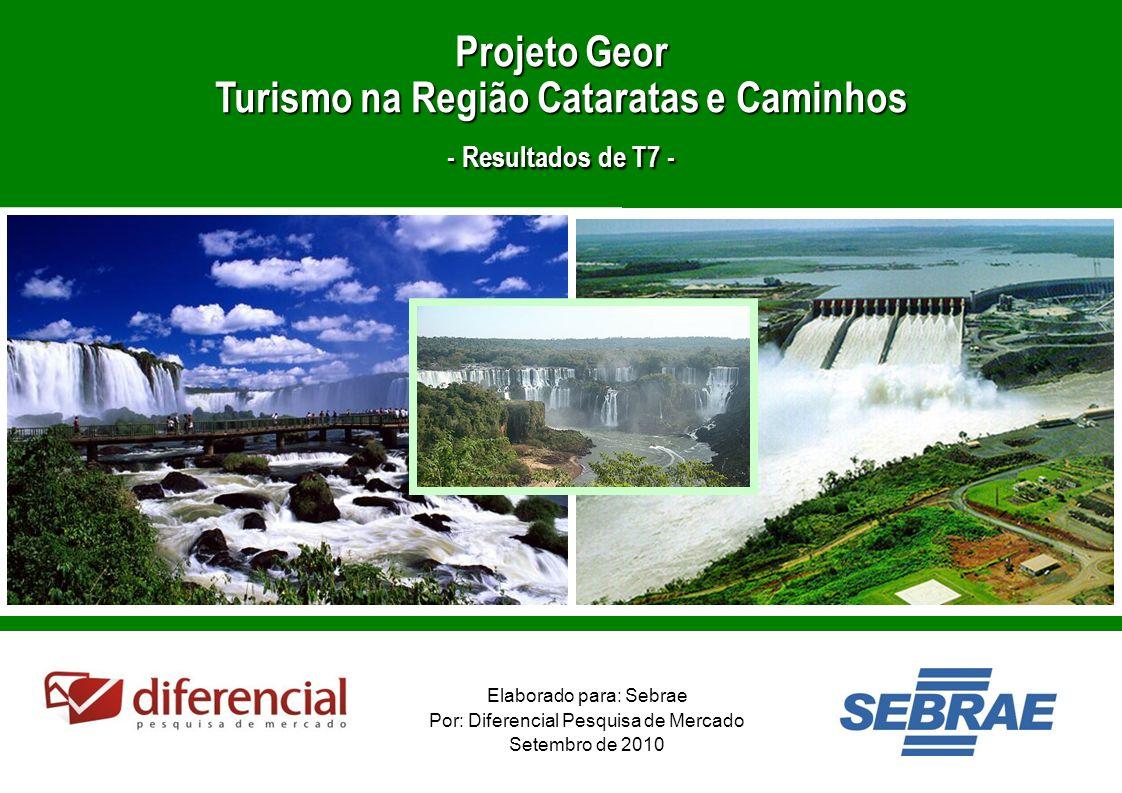 1 Elaborado para: Sebrae Por: Diferencial Pesquisa de Mercado Setembro de 2010 Projeto Geor Turismo na Região Cataratas e Caminhos - Resultados de T7