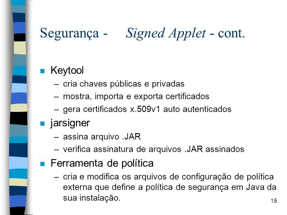 15 Segurança - Signed Applet - cont. n Keytool –cria chaves públicas e privadas –mostra, importa e exporta certificados –gera certificados x.509v1 aut