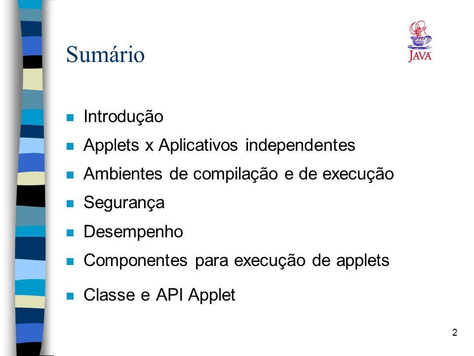 2 Sumário n Introdução n Applets x Aplicativos independentes n Ambientes de compilação e de execução n Segurança n Desempenho n Componentes para execu