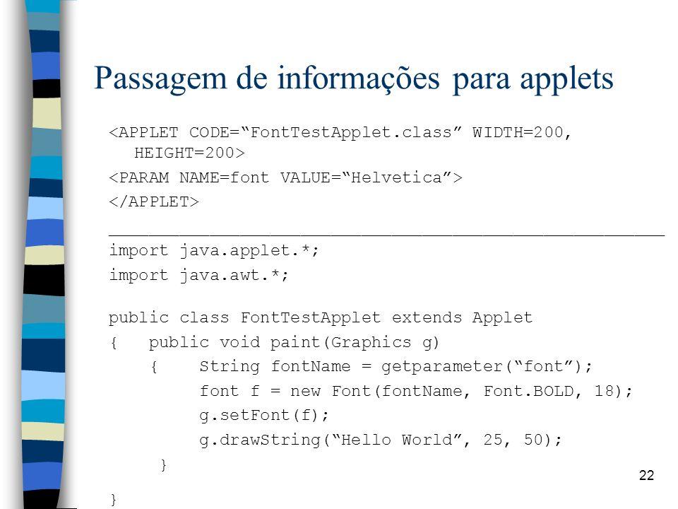 22 Passagem de informações para applets _______________________________________________________ import java.applet.*; import java.awt.*; public class