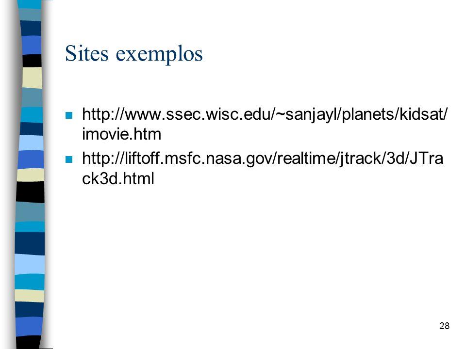 28 Sites exemplos n http://www.ssec.wisc.edu/~sanjayl/planets/kidsat/ imovie.htm n http://liftoff.msfc.nasa.gov/realtime/jtrack/3d/JTra ck3d.html