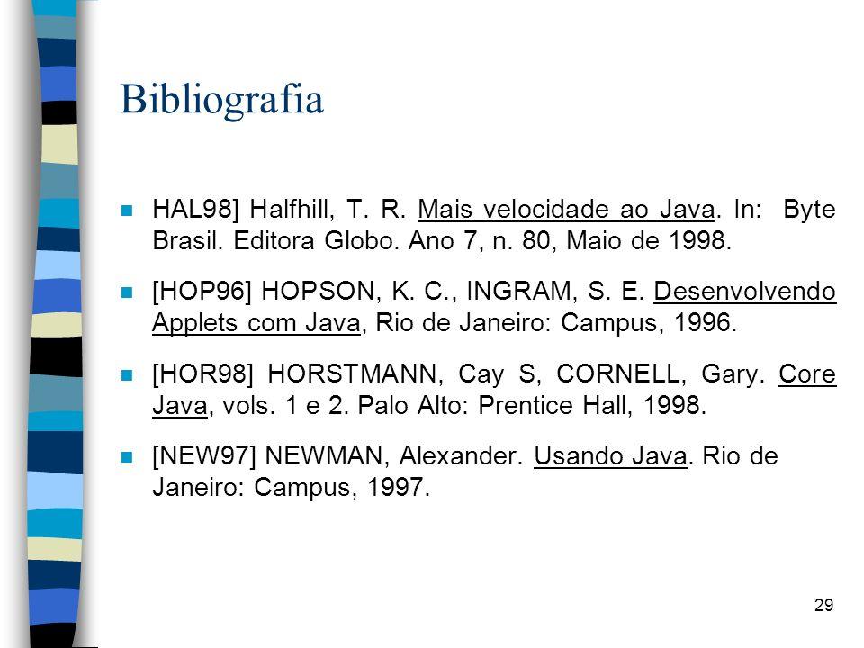 29 Bibliografia n HAL98] Halfhill, T. R. Mais velocidade ao Java. In: Byte Brasil. Editora Globo. Ano 7, n. 80, Maio de 1998. n [HOP96] HOPSON, K. C.,