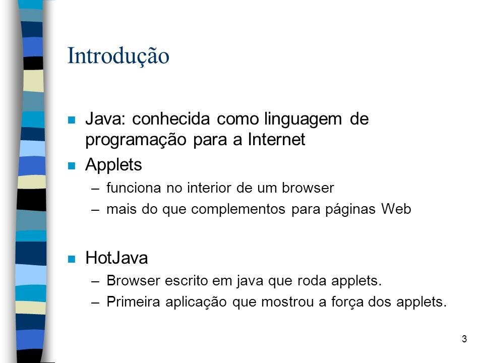 3 Introdução n Java: conhecida como linguagem de programação para a Internet n Applets –funciona no interior de um browser –mais do que complementos p