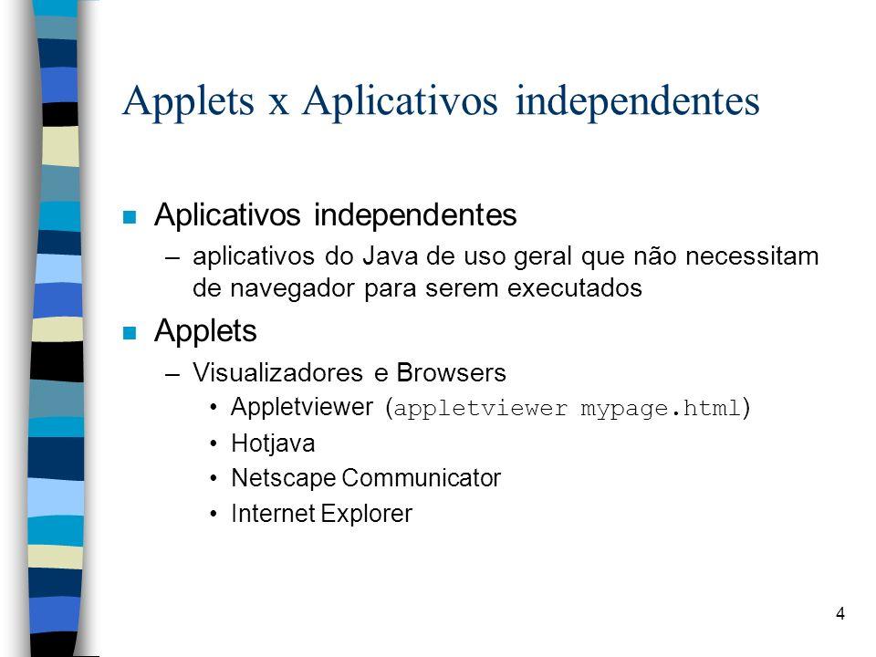 4 Applets x Aplicativos independentes n Aplicativos independentes –aplicativos do Java de uso geral que não necessitam de navegador para serem executa