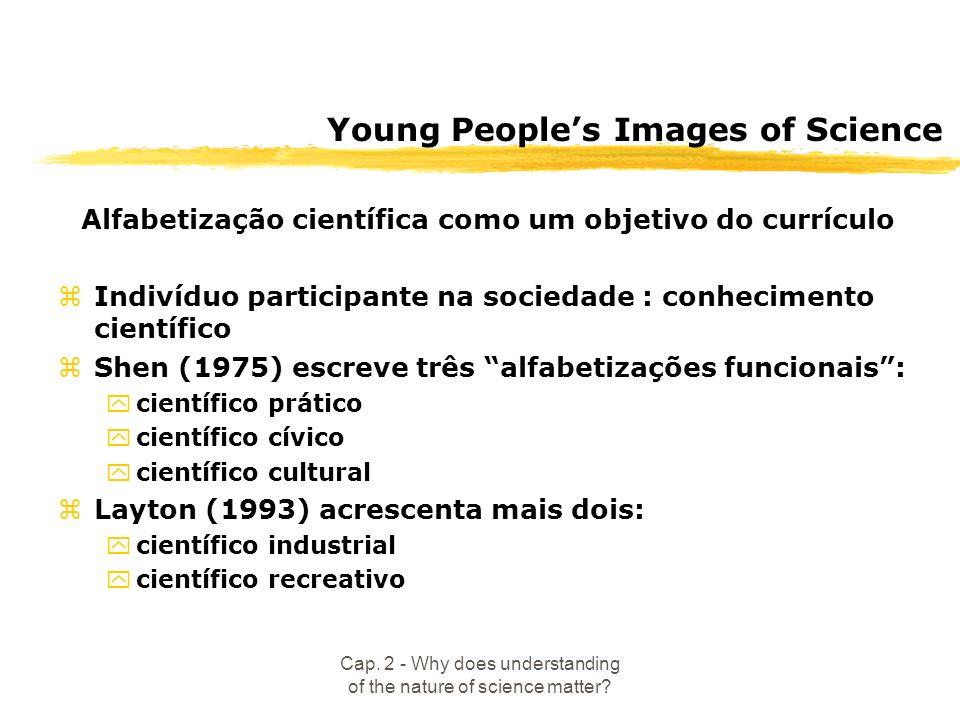 Cap. 2 - Why does understanding of the nature of science matter? Young Peoples Images of Science Alfabetização científica como um objetivo do currícul