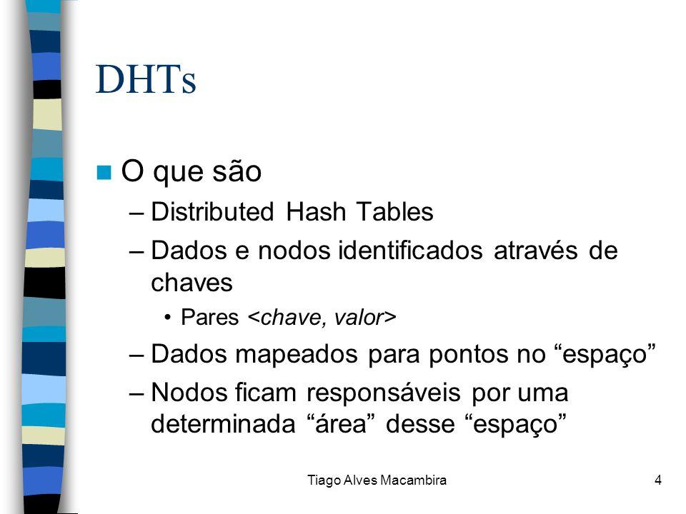 Tiago Alves Macambira4 DHTs O que são –Distributed Hash Tables –Dados e nodos identificados através de chaves Pares –Dados mapeados para pontos no esp
