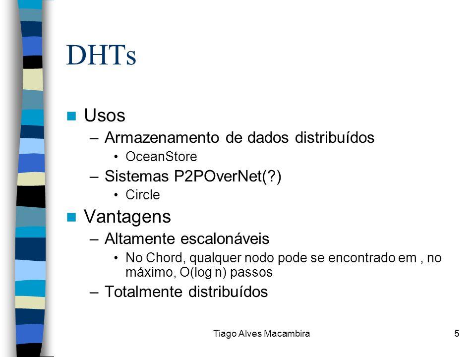 Tiago Alves Macambira5 DHTs Usos –Armazenamento de dados distribuídos OceanStore –Sistemas P2POverNet(?) Circle Vantagens –Altamente escalonáveis No C