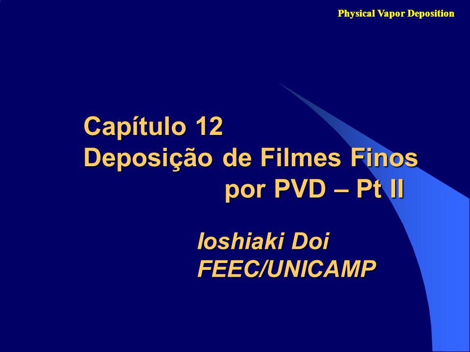 B) Deposição de Filmes por Sputtering Parâmetros típicos: Gás de descarga: Ar; P base = 10 -6 a 10 -9 torr; P ar = 20 – 200 mtorr; V DC = -250 a –5000 V; J = 0.1 a 2.0 mA/cm 2.