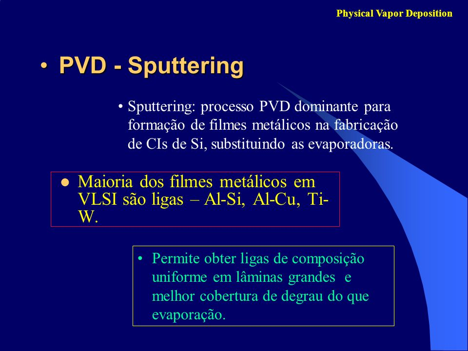PVD - SputteringPVD - Sputtering Maioria dos filmes metálicos em VLSI são ligas – Al-Si, Al-Cu, Ti- W. Physical Vapor Deposition Sputtering: processo