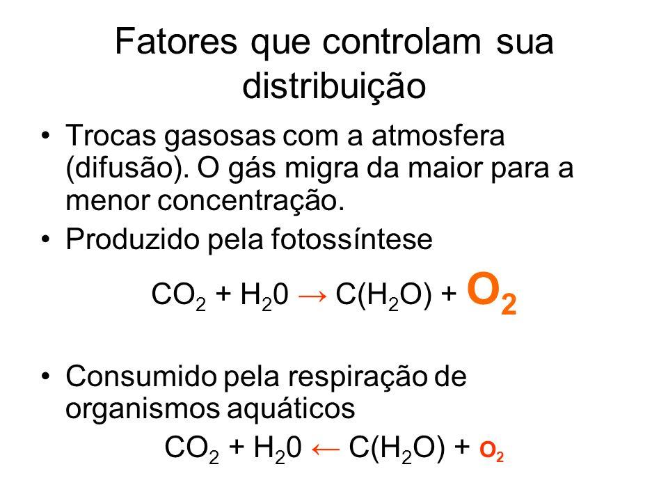 Fatores que controlam sua distribuição Trocas gasosas com a atmosfera (difusão). O gás migra da maior para a menor concentração. Produzido pela fotoss