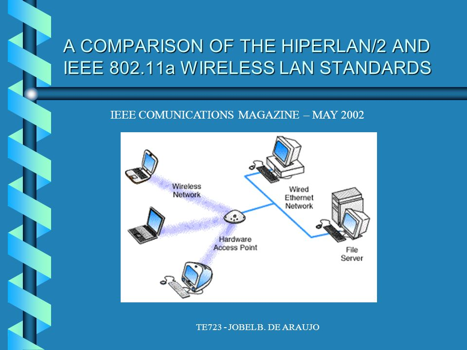 TE723 - JOBEL B. DE ARAUJO A COMPARISON OF THE HIPERLAN/2 AND IEEE 802.11a WIRELESS LAN STANDARDS IEEE COMUNICATIONS MAGAZINE – MAY 2002