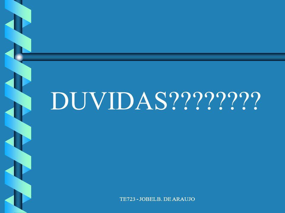 TE723 - JOBEL B. DE ARAUJO DUVIDAS????????