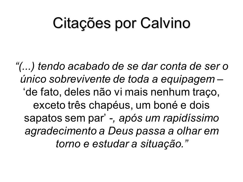 Citações por Calvino (...) tendo acabado de se dar conta de ser o único sobrevivente de toda a equipagem – de fato, deles não vi mais nenhum traço, ex