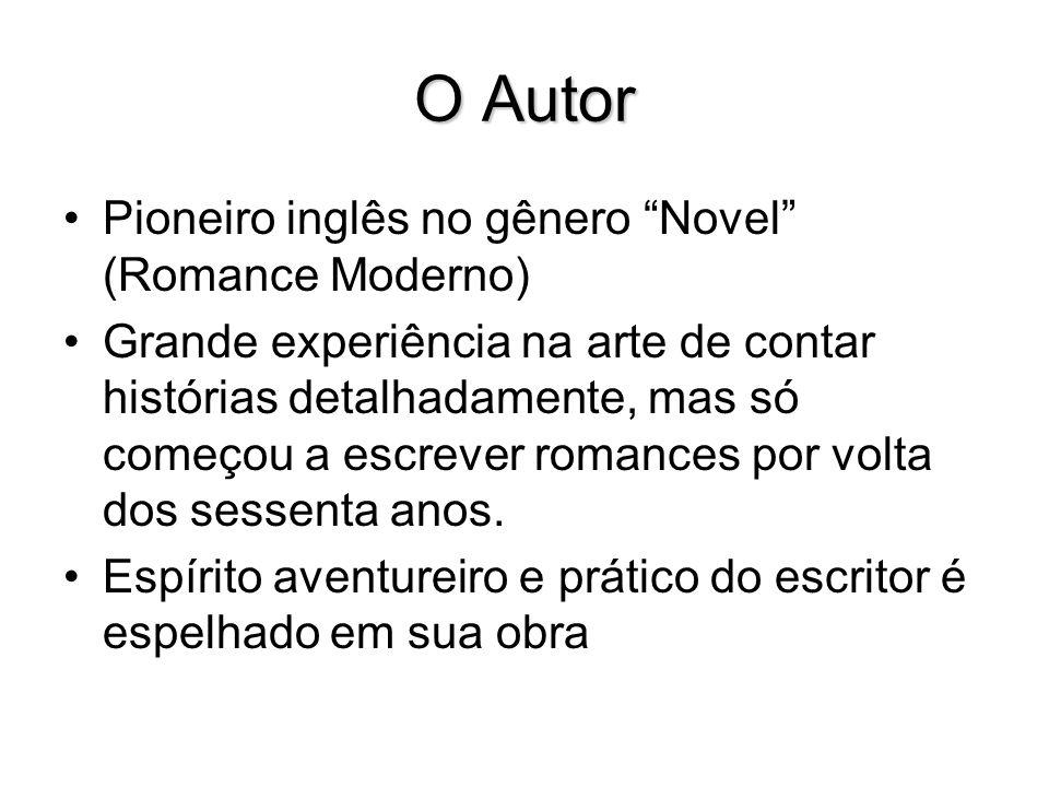 O Autor Pioneiro inglês no gênero Novel (Romance Moderno) Grande experiência na arte de contar histórias detalhadamente, mas só começou a escrever rom