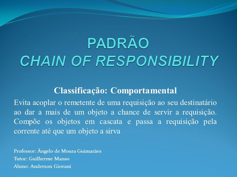 Classificação: Comportamental Evita acoplar o remetente de uma requisição ao seu destinatário ao dar a mais de um objeto a chance de servir a requisiç