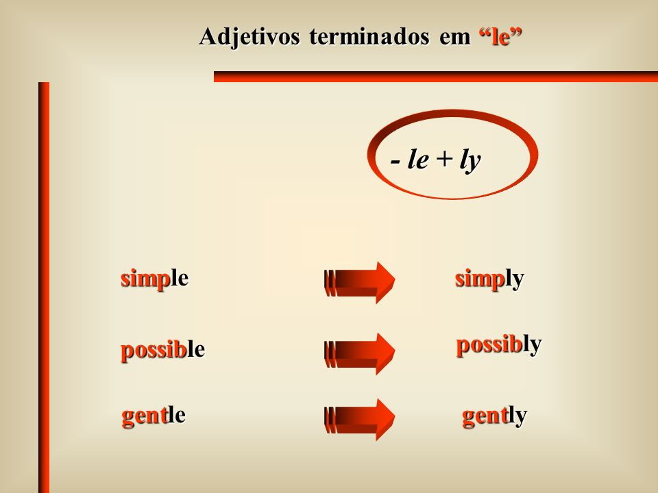 Adjetivos terminados em le - le + ly simple simply possible possibly gentle gently