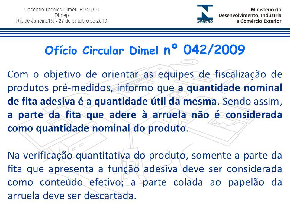 Encontro Técnico Dimel - RBMLQ-I Dimep Rio de Janeiro/RJ - 27 de outubro de 2010 Com o objetivo de orientar as equipes de fiscalização de produtos pré