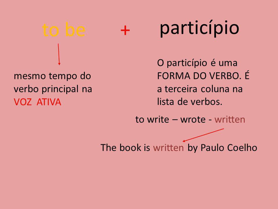to be+ particípio mesmo tempo do verbo principal na VOZ ATIVA O particípio é uma FORMA DO VERBO. É a terceira coluna na lista de verbos. to write – wr
