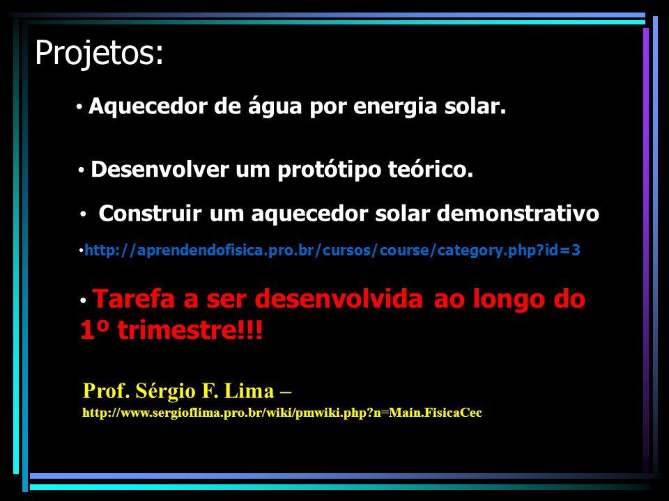 Projetos: Aquecedor de água por energia solar. Desenvolver um protótipo teórico.