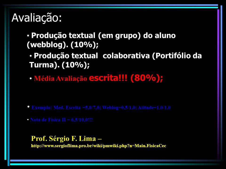 Avaliação: Produção textual (em grupo) do aluno (webblog).