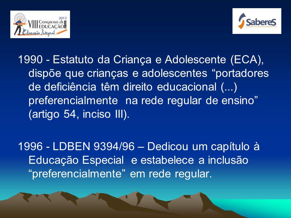 1988 – Constituição; Artigo 208. III - atendimento educacional especializado aos portadores de deficiência, preferencialmente na rede regular de ensin