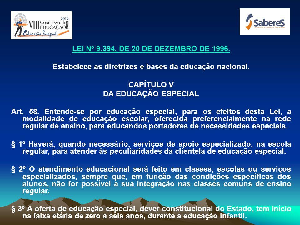 1990 - Estatuto da Criança e Adolescente (ECA), dispõe que crianças e adolescentes portadores de deficiência têm direito educacional (...) preferencia