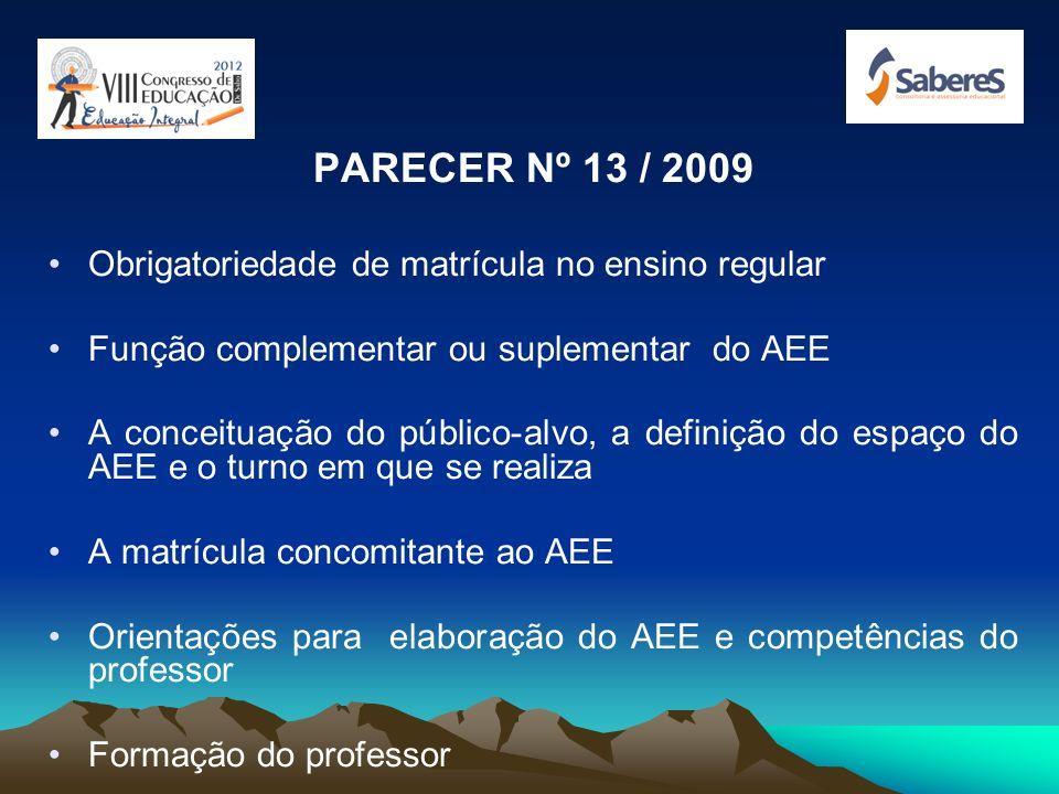 RESOLUÇÃO CNE 04 / 2009 Obrigatoriedade de matrícula no ensino regular Função complementar ou suplementar do AEE A conceituação do público-alvo, a def