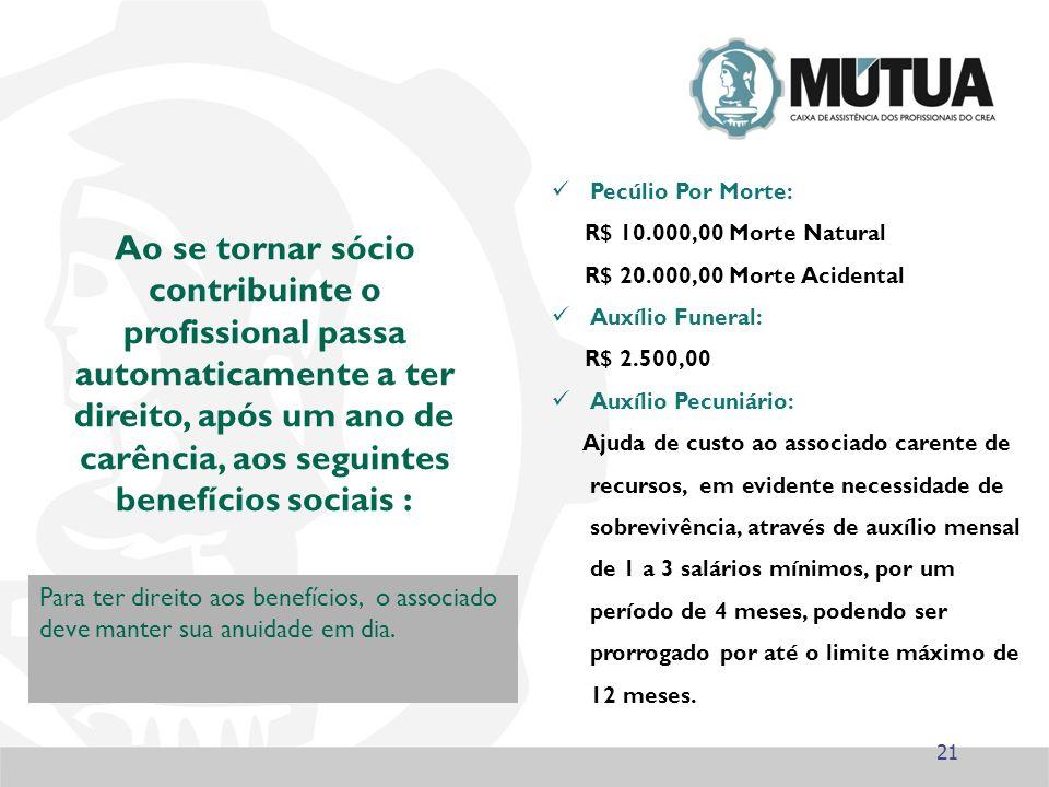 21 Ao se tornar sócio contribuinte o profissional passa automaticamente a ter direito, após um ano de carência, aos seguintes benefícios sociais : Par