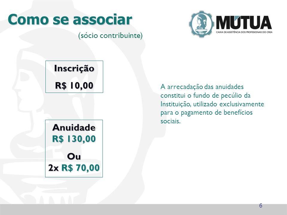 Como se associar Inscrição R$ 10,00 A arrecadação das anuidades constitui o fundo de pecúlio da Instituição, utilizado exclusivamente para o pagamento