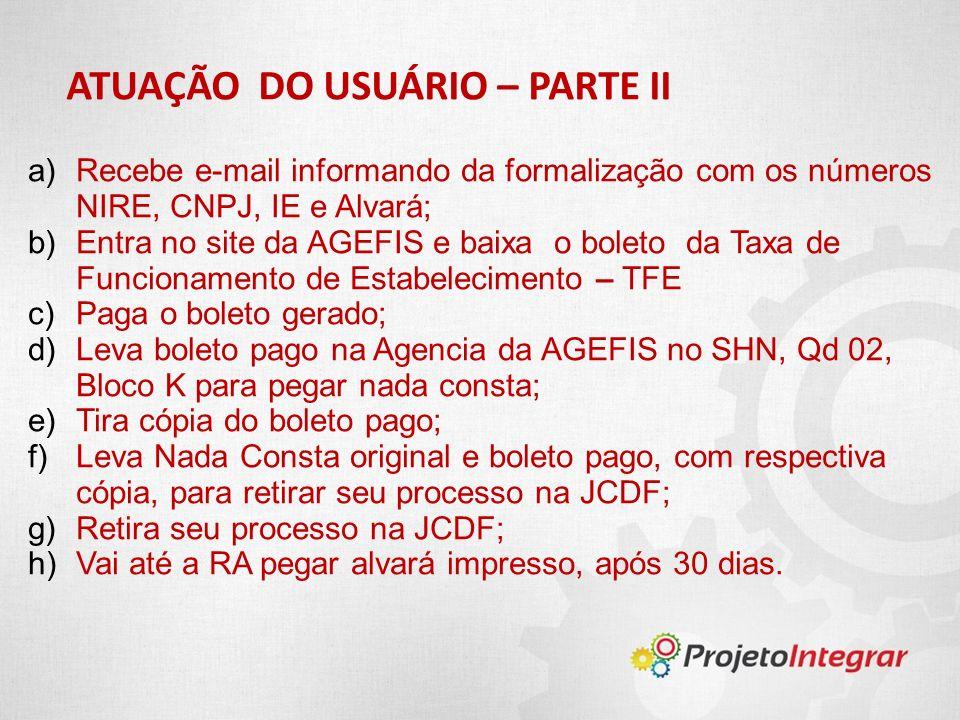 ATUAÇÃO DO USUÁRIO – PARTE II a)Recebe e-mail informando da formalização com os números NIRE, CNPJ, IE e Alvará; b)Entra no site da AGEFIS e baixa o b