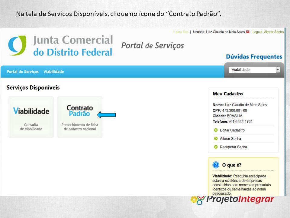 Na tela de Serviços Disponíveis, clique no ícone do Contrato Padrão.