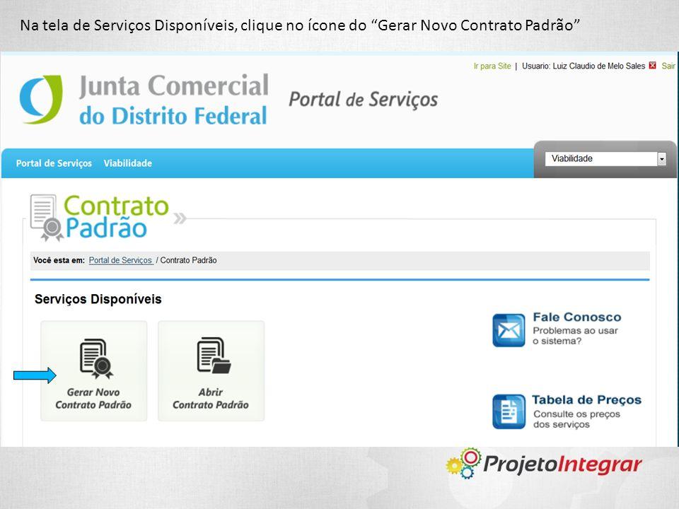 Na tela de Serviços Disponíveis, clique no ícone do Gerar Novo Contrato Padrão