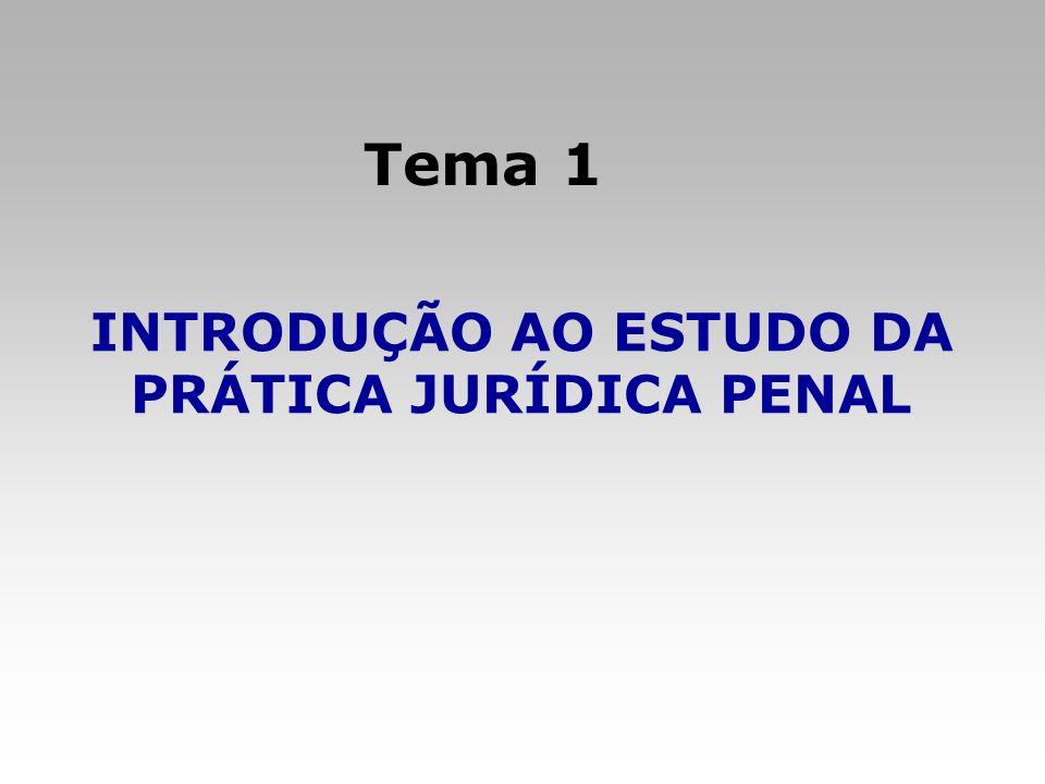 Tema: Introdução ao Estudo da Prática Jurídica Penal 1.