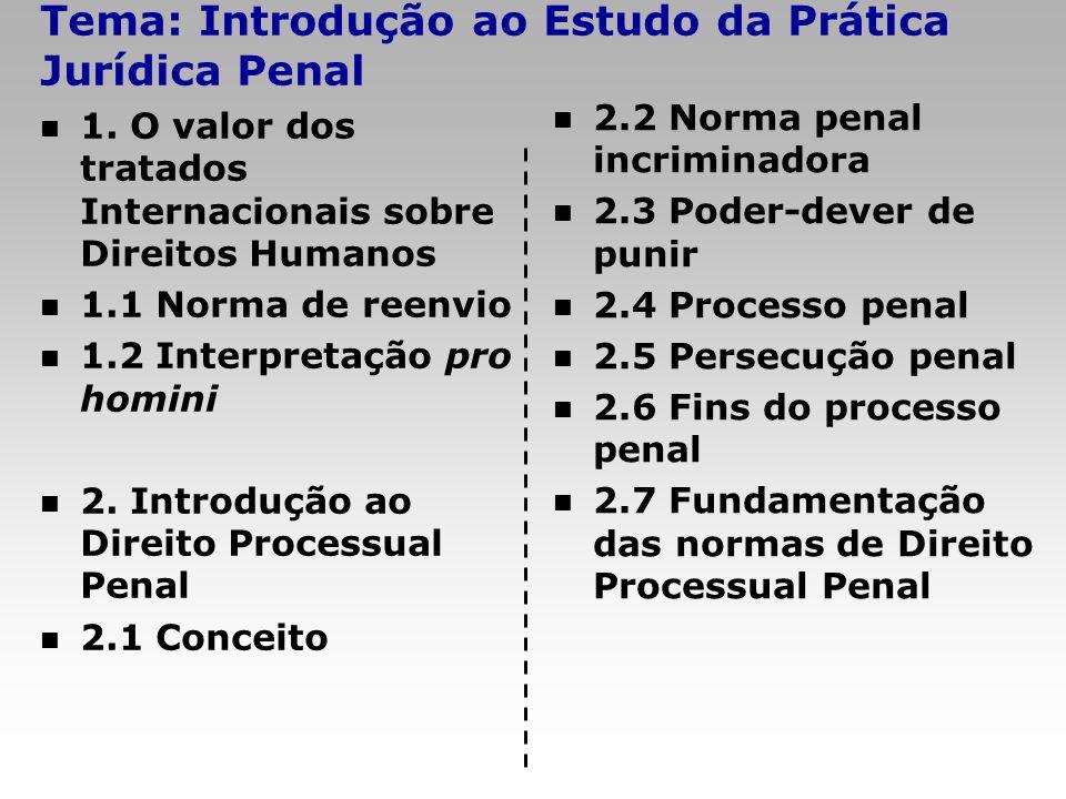 Tema: Introdução ao Estudo da Prática Jurídica Penal 1. O valor dos tratados Internacionais sobre Direitos Humanos 1.1 Norma de reenvio 1.2 Interpreta