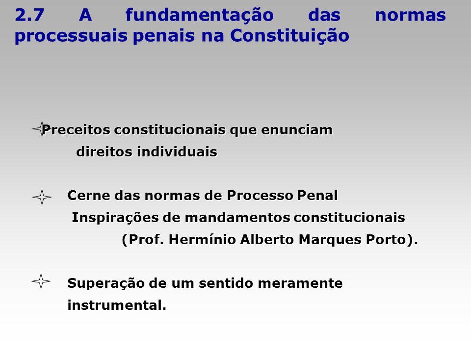 2.7 A fundamentação das normas processuais penais na Constituição Preceitos constitucionais que enunciam direitos individuais direitos individuais Cer
